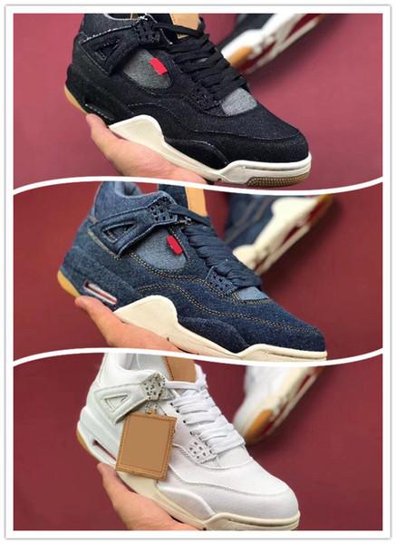 Wholesale Basketball Shoes Mens 4 4s Denim LS Jeans Travis Blue White Black Jeans Sneakers Men Shoes High Quality SIZE 40-47