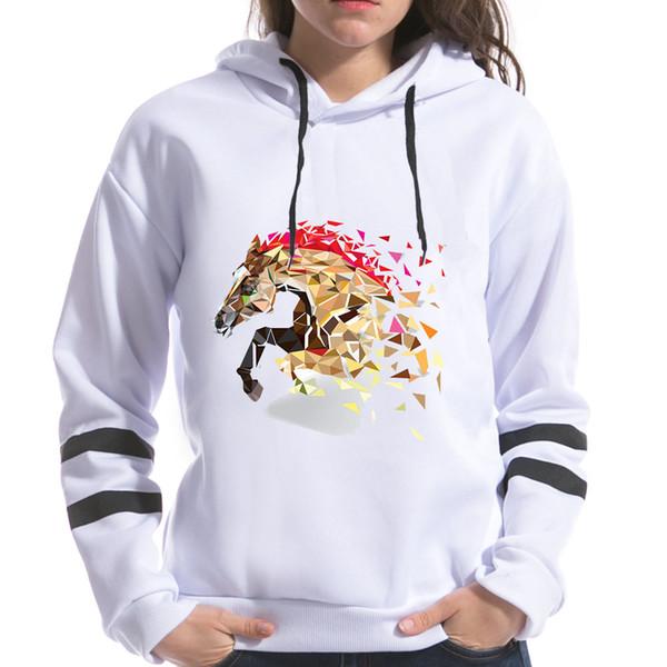 2018 Geometrische Horse Fox Print Frauen Sweatshirts Mit Kapuze Langarm Harajuku Kawaii Druck Weiblichen Frühling Hoodies Tops