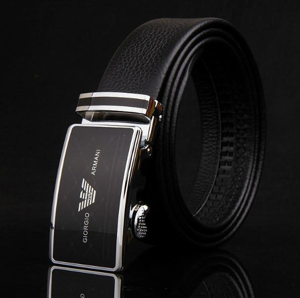 Belt business men's waistband automatically buckles the leather belt with double top layer leather belt