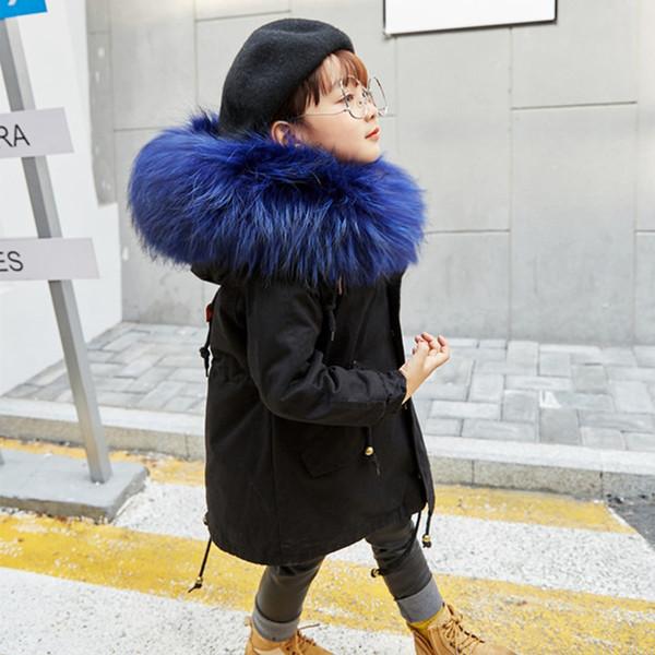 Boys Girls Fur Jacket Parkas Winter Rabbit Fur Liner Coat Children's Outerwear Big Raccoon Fur Hood Girls Jackets Coats TZ127