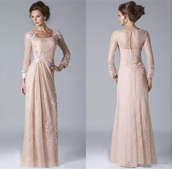 Vintage Pink Lace Mother of the Bride Groom Dresses Square Neckline Long Sleeves Appliques Evening Gowns A line Prom Dresses Floor Length