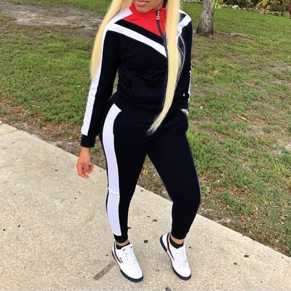 2baa631be005e 2019 Women Panelled Colors Zipper Jackets Skinny Sexy Tracksuit Vintage Old  School Style Woman From Vogueapparel, $40.75 | DHgate.Com