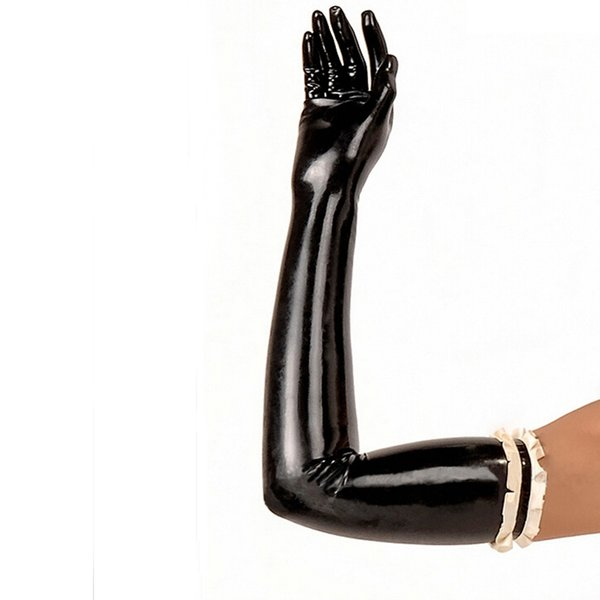 New Arrival Rushed Catsuit Hot Sexy Women solid color red black white long Latex Gloves Fetish with chiffons XS-XXL