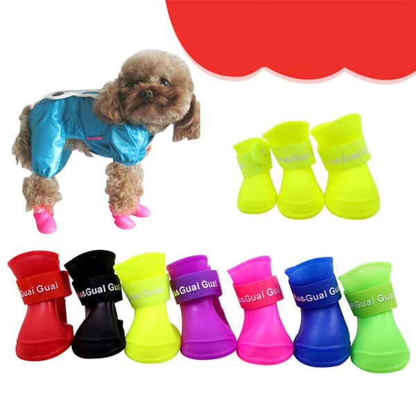 best selling 4x Cute Pet Shoes Dog Waterproof Dog Boots Protective Rubber Rain Shoes Candy Color Free shipping