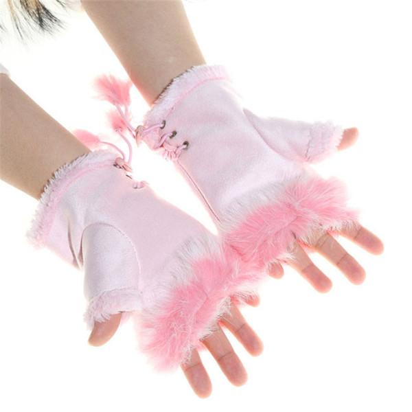 Stilvolle Frauen Winter Handschuh Faux Kaninchenfell Handgelenkwärmer Fingerlose Handschuhe 6 Farben Raute Künstliche Handschuhe NQ896548