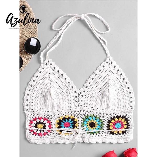 Compre 20187 Azulina Mujeres Tops Halter Crochet Bralette Camis ...