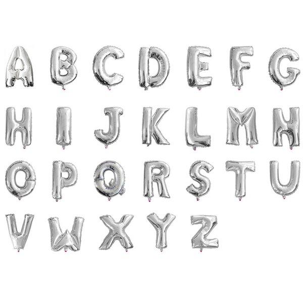 lettere d'argento dalla A alla Z