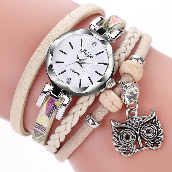 2018 New Fashion Multicolor Braided Leather Bracelets Antique Silver Owl Pendant Bracelet Watches For Women Girls Wristwatch