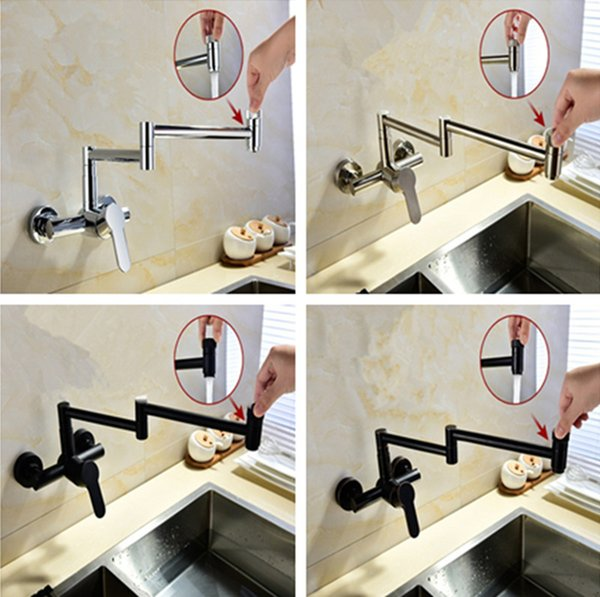 Brass Kitchen Hot&Cold Mixing Water Faucet Wall Mount Pot Filler Folding  Stretchable Chrome/ORB/Black/Brushed Finish UK 2019 From Homebathic7, UK ...