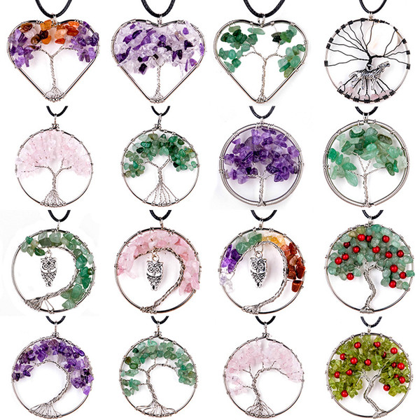 Women Rainbow Amethyst Tree Of Life Quartz Chips Pendant Necklace Multicolor Wisdom Tree Natural Stone Necklace Free shipping