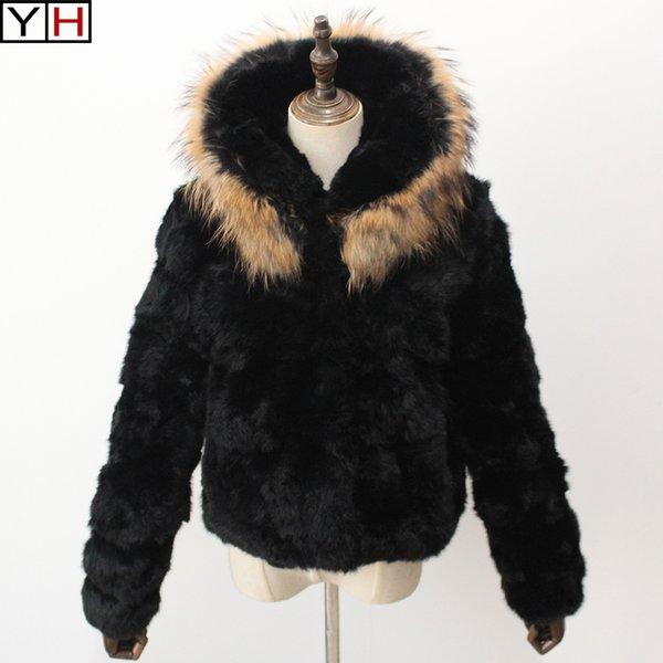 Winter Women real rabbit jacket warm full pelt rabbit fur coat lady with hooded short fur jacket coat free shipping