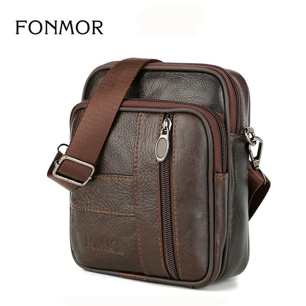 FONMOR Design Cowhide Leather Messenger Bag For Men Small Mobile Phone BAGS Cross Body Bag Genuine Leather Belt Waist Fanny bags