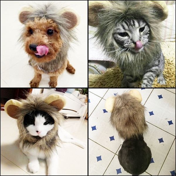 Funny Lion Mane Wig Hats With Ears Artificial Wool Plush Dog Cat Headgear Cute Cosplay Dress Pet Supplies 12 5jn BB