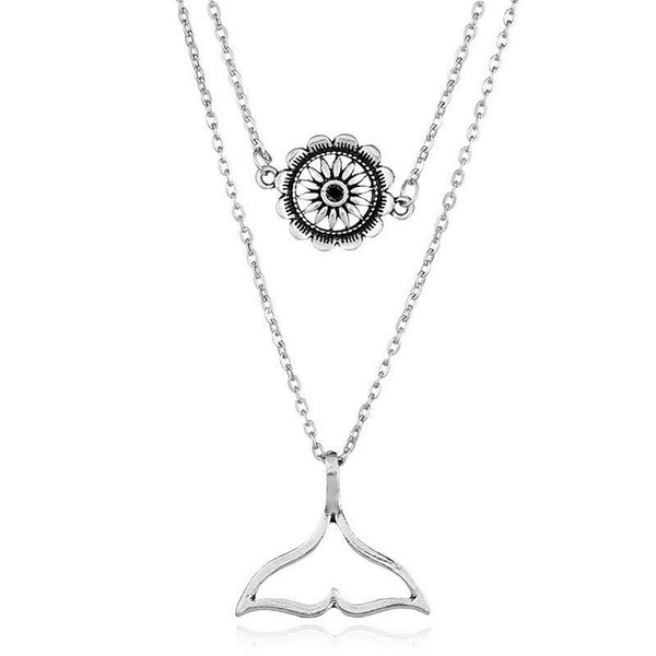 Fashion retro fishtail sun flower combination pendant Yiwu small jewelry wholesale Instagram street style clothing sweater chain