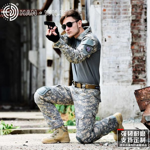 Army Combat Uniform Tactical Camouflage Hunting Clothes Ghillie Suit Woodland Paintball Suits With Knee Elbow