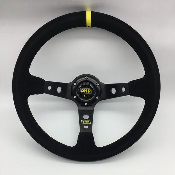 14inch 350mm Racing Car OMP Style volante de carreras de coches volante OMP Suede Leather Deep Corn de volantes volante