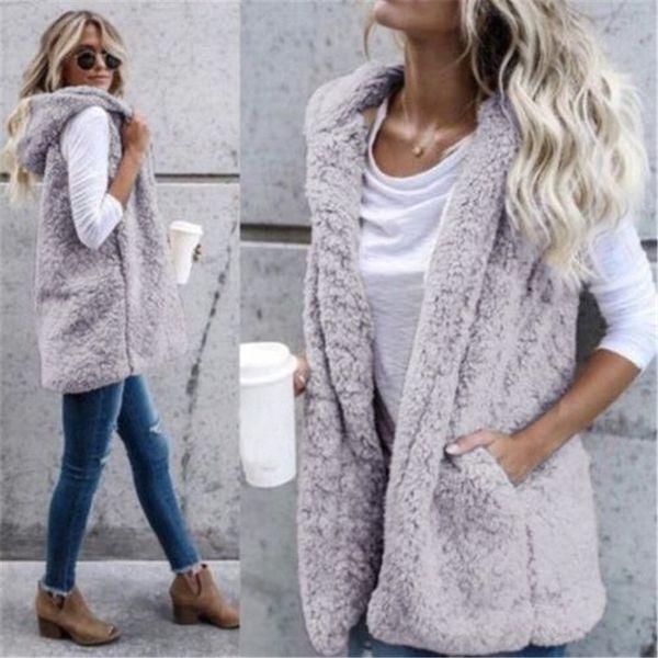 2018 New Winter Hooded Waistcoats Ladies Casual Sleeveless Faux Fur Coats Womens Warm Vests Open Stitch Jackets Outwears
