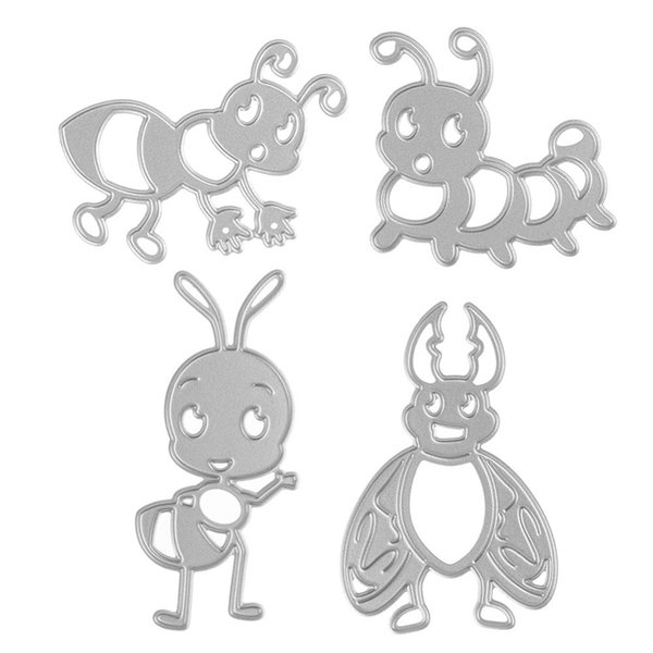 4Pcs Bee and Ants Set Metal DIY Cutting Dies Stencil Scrapbook Card Album Paper Embossing Craft Decor