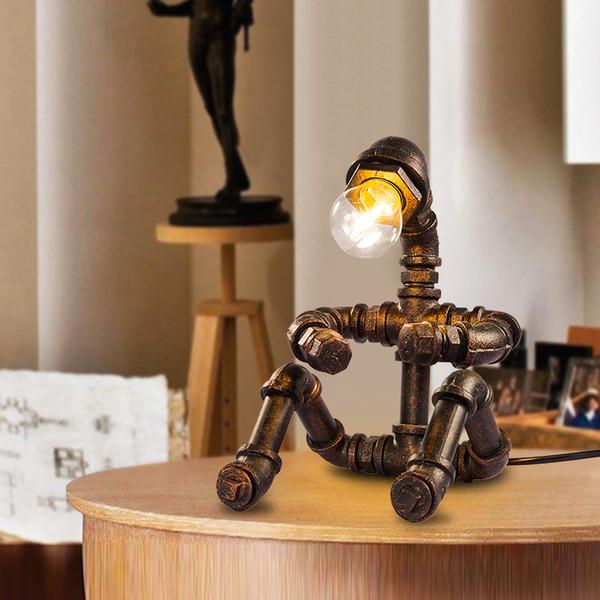 Tubo de água criativo robô do vintage nostálgico olho de cabeceira personalizado pequeno candeeiro de mesa Industrial vento lâmpada de ferro forjado