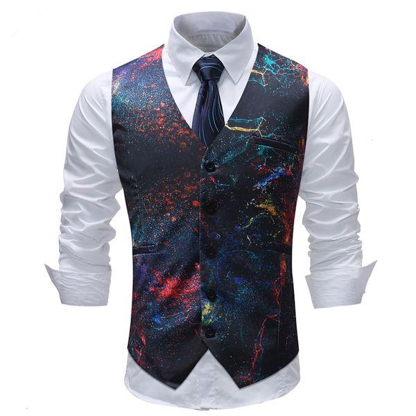 Fashion Wedding Party Suit Vest Uomo 2018 New Space Galaxy Stampa Slim Gilet senza maniche Gilet da uomo Dress Chalecos Para Hombre