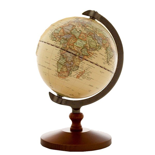 """5"""" Quality Rotating Globe Display Rack Domestic Store Desk Counter Decoration Wood Globe Jewelry Source World Map Display Stand"""