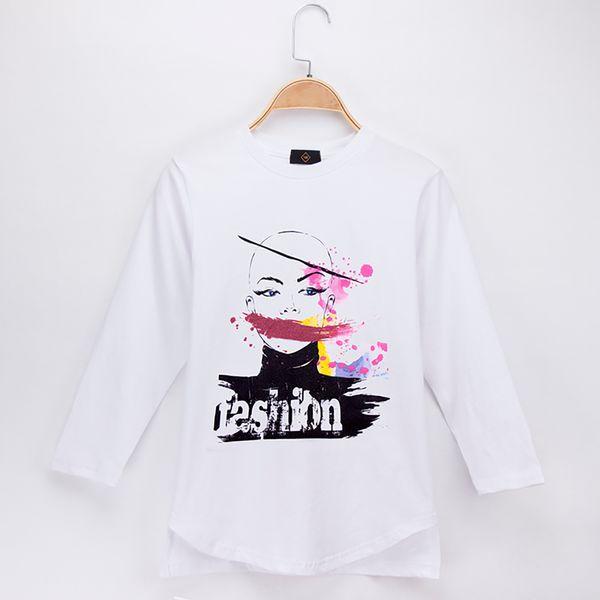 2018 Kids Clothes Girls T-shirts Fashion Model Print 100% Cotton Full Children Long Sleeve T Shirts Baby Tops Tee Child Shirt 4T-12T