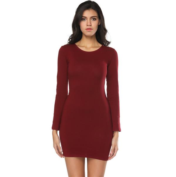 2018 donne alla moda in cotone casual estate maniche lunghe abiti gioiello collo guaina abiti da donna sopra la lunghezza del ginocchio abito economico FS5747