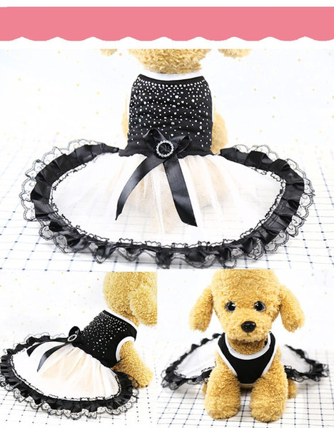 Fashion Cute Pet Puppy Dog Clothes Princess Sleeveless Lattice Bow Dress Skirt Apparel Free Shipping & Drop Shipping