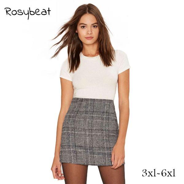 8922aa30064b Basic Skirts Women Plus Size 6xl Grey Plaid Print Mini Bodycon Skirt High  Waist Fashion Casual