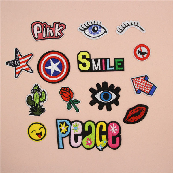 14 pcs New Fashion Patches Eye Badge Letter Clothing Patches Bags Jeans DIY Sew on All Kinds Embroidery Iron on Patch Stickers Free