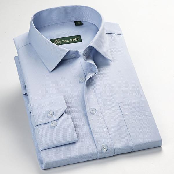 Chemises en sergé pour homme Chemises sociales de cérémonie Affaires Manches longues non-ferreuses Work Size S-5XL