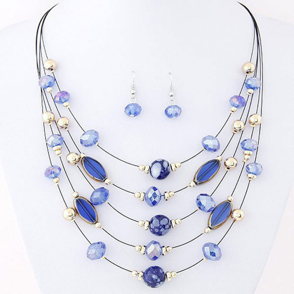 Brand Design Cheap Wild Multilayer Bohemia Beads Choker Gem Crystal Necklace Statement Necklace Pendants Jewelry For Women PT34