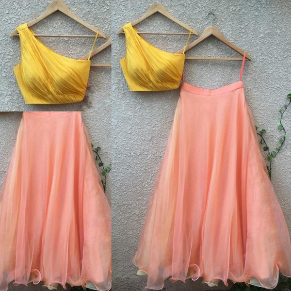 Simple Two Pieces Evening Dress Yellow And Peach One Shoulder Prom Dresses Short Top And Long Skirt Women Formal Wear Party Dress Cheap