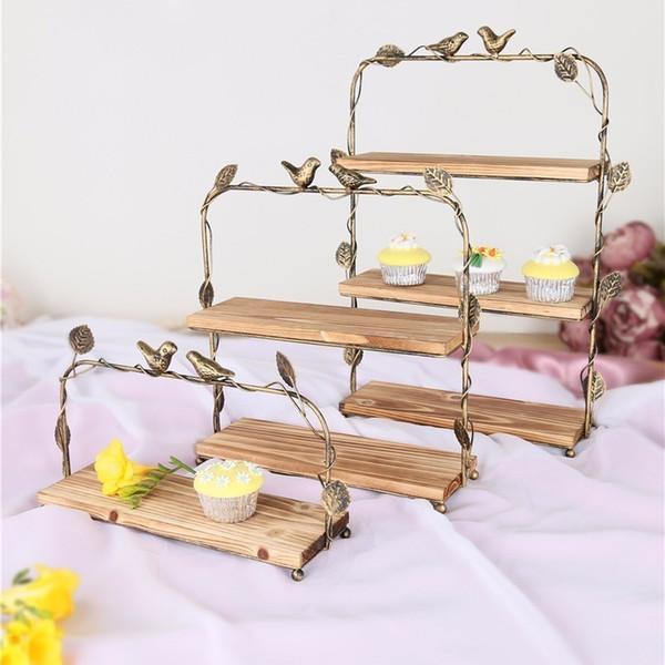 Cadre d'exposition de fruits de plate-forme de dessert en bois solide de cadre de casse-croûte de meubles