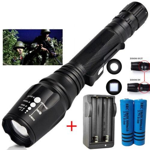 Ultra Bright 3800LM Tactical Flashlight Zoomable Cree XM-L T6 Led Hiking Torch Rechargeable + 2x Battery + Charger