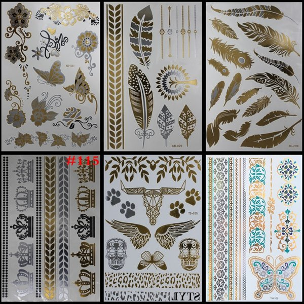6styles Elephant Temporary Tattoo Body Art Stikers Body Stickers Aramex Wrist Glitter Tattoos Lotus Flower Golden Painting