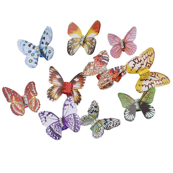 10x Rhinestone Crystal Butterfly Dreadlock Cuff Clips Hair Braid Beads Plastic Ring Colorful Hair