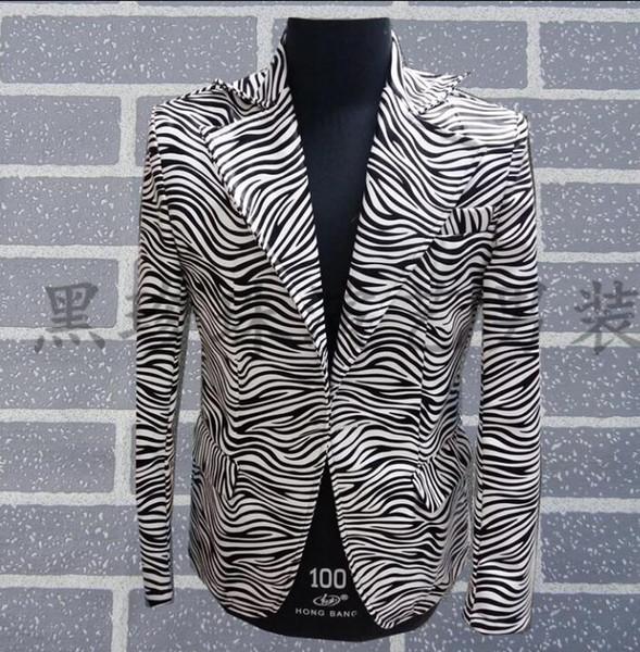 Homens Ternos Projetos Masculino Homme Terno Trajes de Palco Para Cantores Homens Zebra Impressão Blazer Roupas de Dança Jaqueta Estilo Vestido