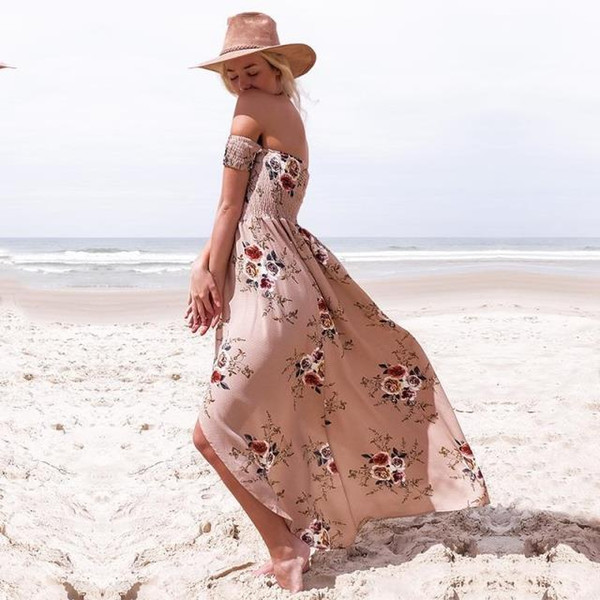 The summer new explosion word shoulder chiffon Printed Dress split bra women sho loved very much