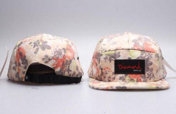 Hot Diamond 5 Panel Hats Blank, Classic Flower Diamond Herren Snapback, Frauen verstellbare Diamant Baseballmützen, Stickerei ausgestattet flache Hüte