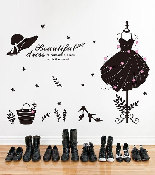 50*70 in Black 3D DIY Photo evening dress PVC Wall Decals/Adhesive Family Wall Stickers Mural Art Home Decor