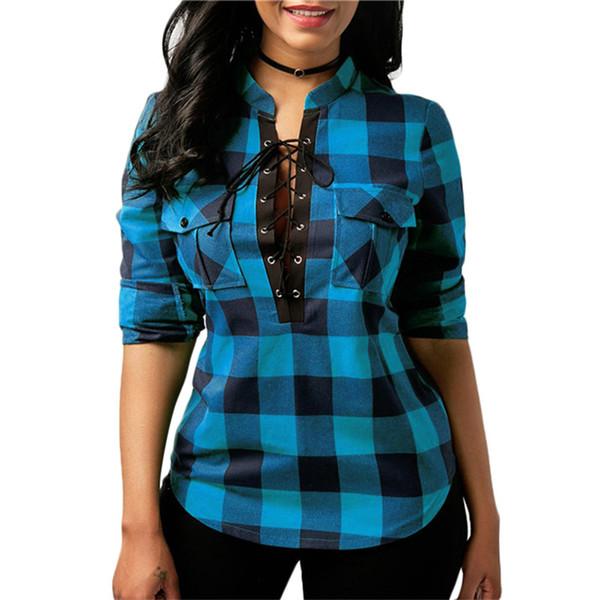 Women Plaid Shirt Pocket Sexy Long Sleeve Vintage V-neck Lace up Blouses Tunic Tops Office Ladies Blouses Shirts Blusas Feminino