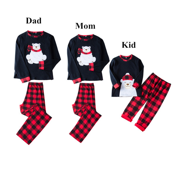 Lovely Bear Appliqued Plaid Christmas Family Pajamas Clothing Bear Top +Plaid Pants 2-piece set Outfit Kid Mom Dad Adult Xmas Clothes