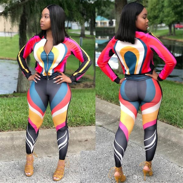 Sexy women's sportsuit stitching casual stripe sports two pieces sets Autumn Design Long Sleeve Suit For Lady Free Shipping NB-189