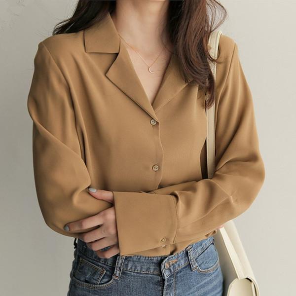 2018 Sonbahar Kısa Kadın Gömlek Çentikli Gevşek Tam Kollu Şifon Profesyonel Sense Bluz Gömlek Beyaz Mavi 9873