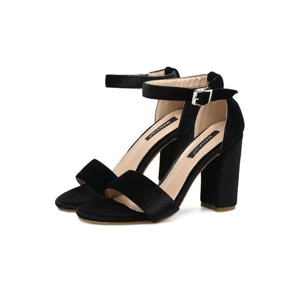 Nueva Fashionl Women super tacón alto bombas abierto Toe sandalias de terciopelo dorado coreano Muestre estilo sandalias de tacón grueso Sexy Lady zapatos de fiesta Tallas grandes