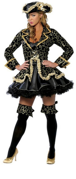 Adult Deluxe Floral Lace Costume Halloween Party Sexy Women Pirate Captain Cosplay Costume With Hat