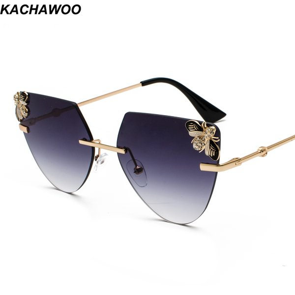 Kachawoo Rhinestone Cat Eye Sunglasses For Ladies Triangle Candy Color Rimless Sun Glasses Women Retro Style Valentine Gift