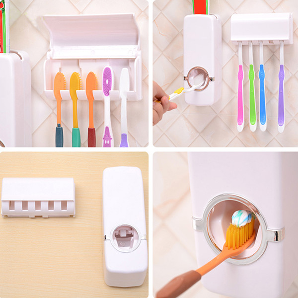best selling 2018 Fashion Automatic Toothpaste Dispenser with Toothbrush Holders Set Family bathroom Wall Mount for toothbrush and toothpaste