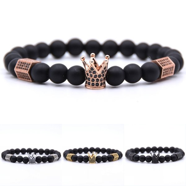Crown Inlaid Zircon Bracelet 3x6 Hexagonal Copper Bangles Natural Stone Frosted Bracelets Jewelry Support FBA Drop Shipping H805F
